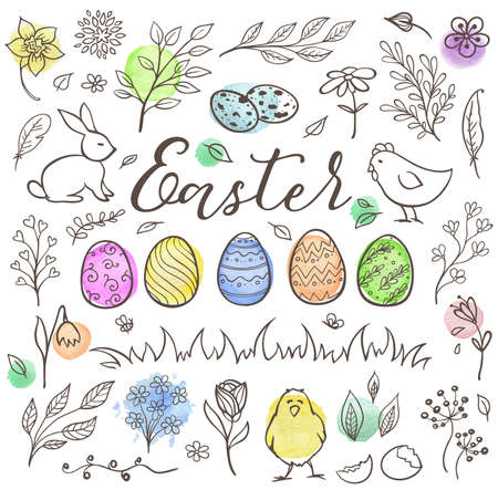 Set of decorative hand drawn Easter doodle elements for design Vector kit with watercolor texture.