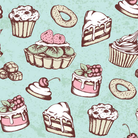 Hand drawn seamless pattern with candies and cakes in vintage style. Vector green background with sweets. Ilustração