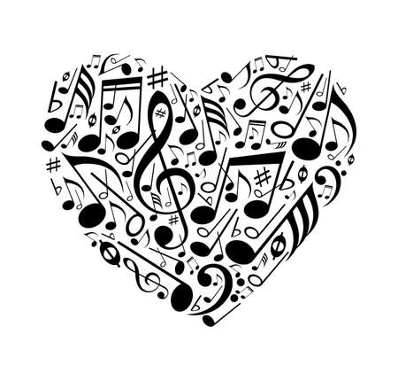 Abstract heart of musical notes on a white background. Vector illustration. Foto de archivo - 99947711