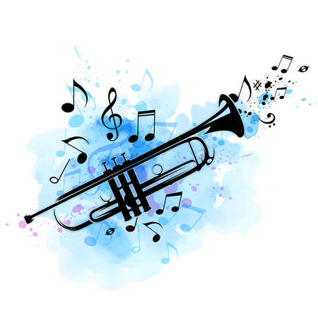 Music abstract background with black trumpet, notes and blue watercolor texture. Vector illustration. Illustration