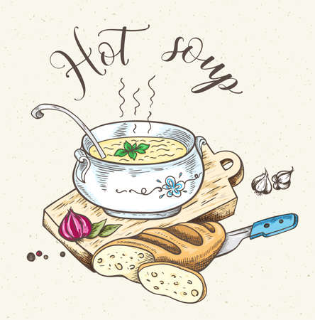 Vintage background with fresh hot soup and bread. Hand drawn vector illustration.