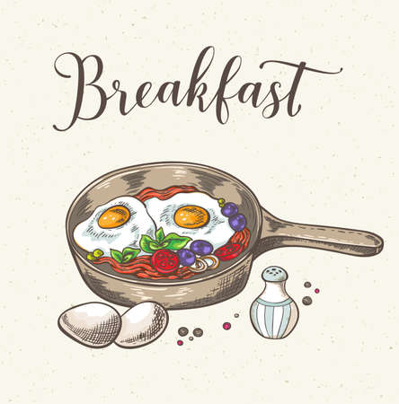 Vintage background with fried eggs, bacon and tomatoes. Hand drawn vector illustration.