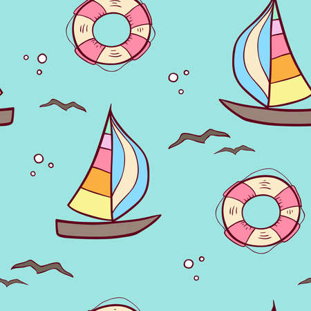 Doodle seamless pattern with sailing ship and lifebuoy on a green background. Vector illustration. Ilustracja