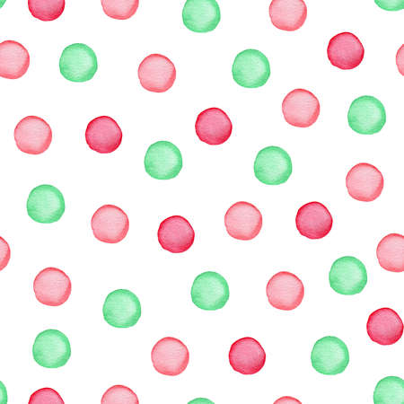 Decorative watercolor seamless pattern with polka dots. Green and red round blots on a white background