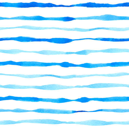 Blu watercolor seamless pattern with wavy lines. Hand drawn vector background