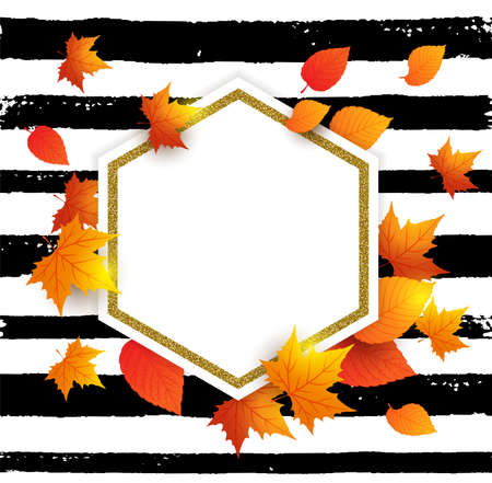 Autumn vector background with orange maple leaves and place for text . Abstract golden banner for seasonal fall sale.