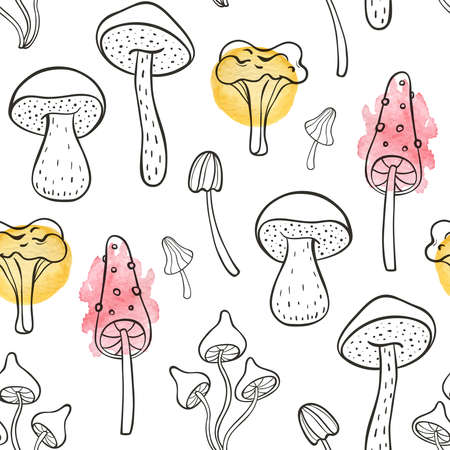 Autumn doodle seamless pattern with forest mushrooms on a white background. Hand drawn vector illustration with watercolor elements.