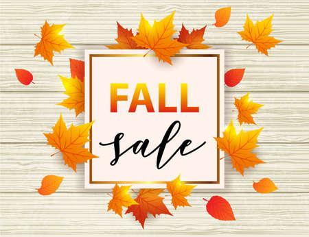 fondo de madera vectorial de otoño con hojas de arce naranja. marco dorado abstracto para la venta de temporada Ilustración de vector