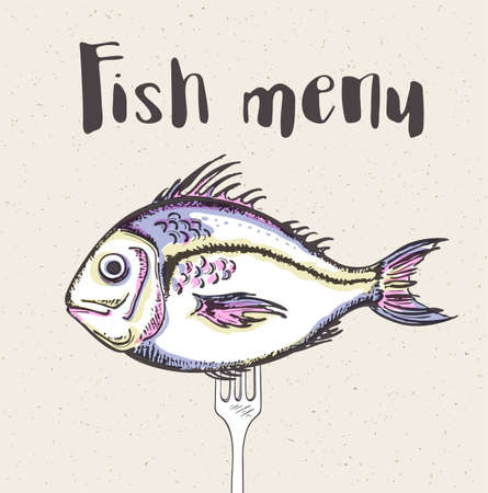Vintage menu with fish and fork. Hand drawn vector illustration