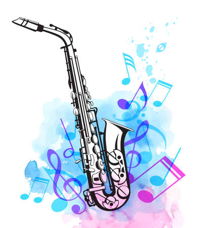 Music notes and saxophone with pink and blue watercolor texture. Abstract vector musical background Stock Illustratie