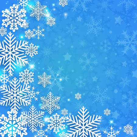 Blue abstract Christmas background with white snowflakes. Design for new year greeting card. Vector illustration.