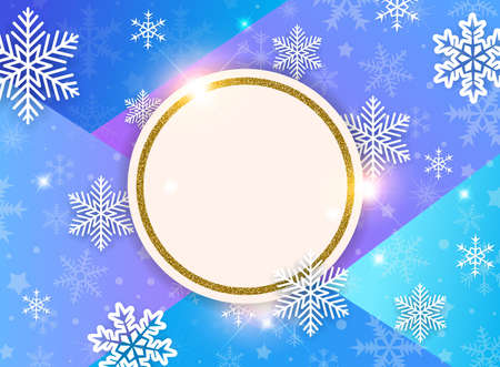 Abstract vector Christmas background with snowflakes and golden frame. Design for New Year seasonal sale