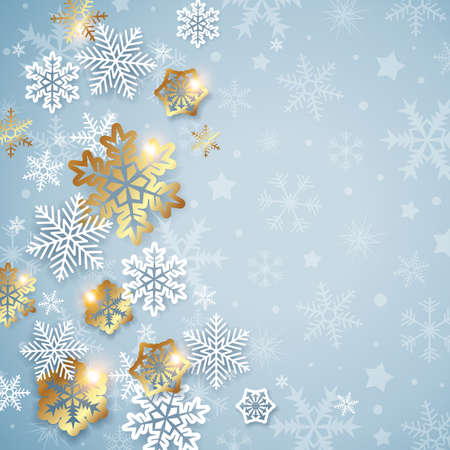Abstract Christmas background with white and golden snowflakes. Design for new year greeting card. Vector illustration. Ilustração