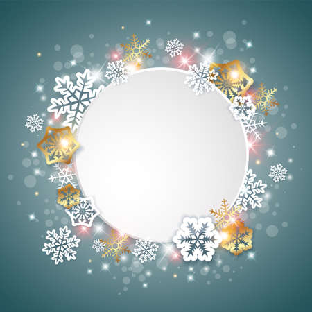 Vector green Christmas background with white and golden snowflakes. New year greeting card.