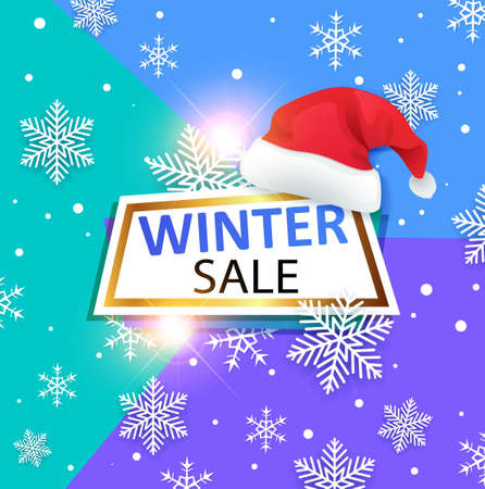 Decorative vector winter banner with Santas hat on abstract background. Design for seasonal Christmas sale