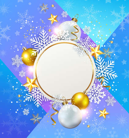 Abstract vector Christmas background with snowflakes, white and golden decorations. Design for New Year greeting card.