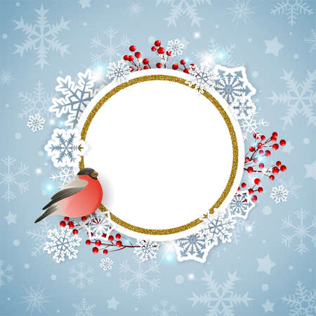 Vector Christmas background with white snowflakes and bullfinch bird. New year greeting card.
