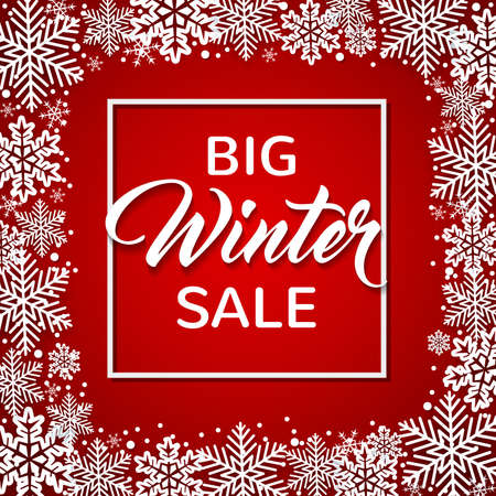 Decorative winter frame with white snowflakes on a red background. Design for seasonal Christmas sale Ilustração