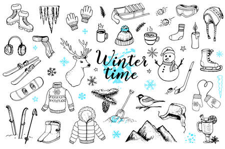 Set of vector hand drawn winter doodles on a white background. Clothing, sports equipment and nature design elements.