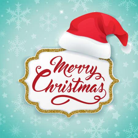Christmas card with golden frame and hat of Santa Claus on a green background. Vector illustration. Ilustração
