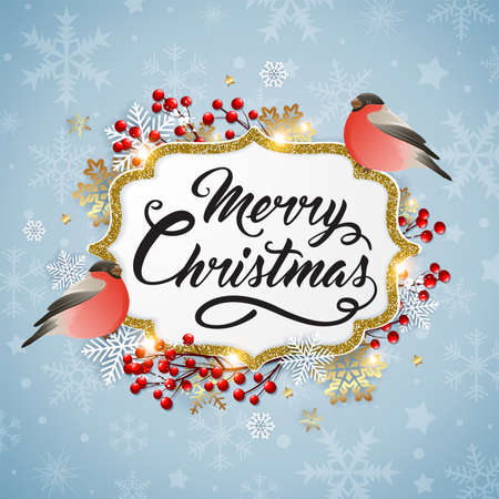 Vector Christmas background with snowflakes and bullfinch birds. New year greeting card. Merry Christmas lettering Ilustração