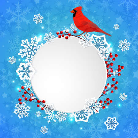 Vector Christmas banner with white paper snowflakes and red cardinal bird on a blue background. New year greeting card. Ilustração