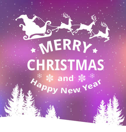 Christmas vector background with Santa Claus and winter snowy landscape. New Year greeting card. Merry Christmas lettering