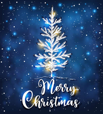 Christmas vector background with white fir tree. New Year greeting card. Merry Christmas lettering