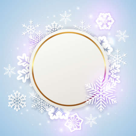 Christmas background with golden round frame and white paper snowflakes. New year greeting card. Vector illustration