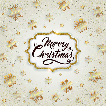 Christmas golden glittering background with snowflakes and confetti. Merry Christmas lettering. Vector illustration Ilustração