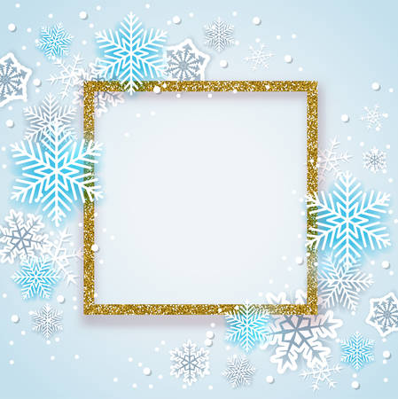 Christmas background with golden glittering frame and blue snowflakes. New year greeting card. Vector illustration Ilustração