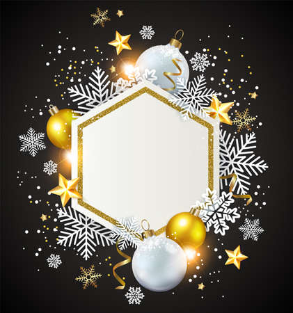 Christmas abstract black background with golden and white decorations and snowflakes. New year greeting card. Vector illustration. Ilustração