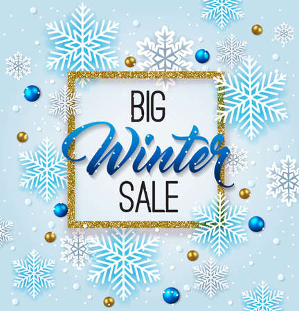 Decorative golden winter frame with white snowflakes on a blue background. Design for seasonal Christmas sale