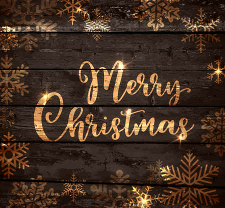 Vintage vector Christmas background with snowfllakes on a wooden board. Merry Christmas lettering. Ilustração