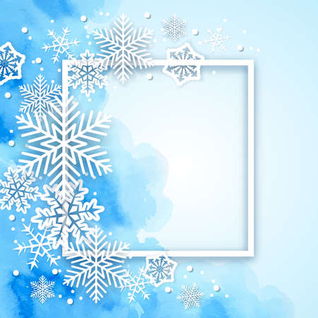 Blue Christmas watercolor background with white frame and snowflakes. New year greeting card. Vector illustration