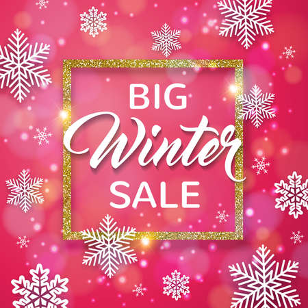 Decorative vector golden winter frame with white snowflakes on a pink background. Design for seasonal Christmas sale