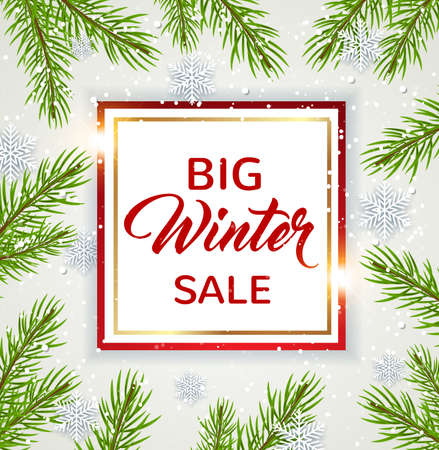 Decorative vector winter background with green fir branch and white snowflakes. Design for seasonal Christmas sale