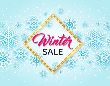 Golden glittering winter frame with white snowflakes on a blue background. Design for seasonal Christmas sale Ilustração