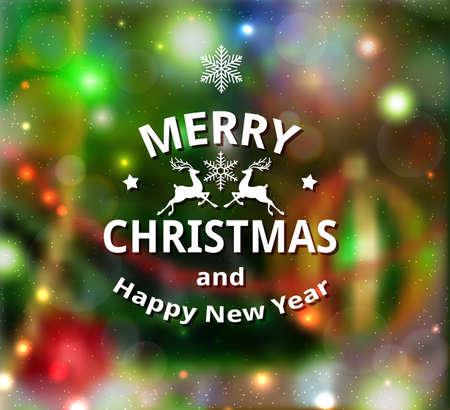 Christmas decorative blurred shining background. New year greeting card. Vector illustration Ilustração