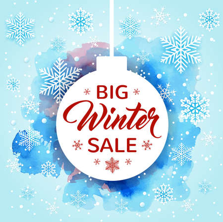 Christmas background with white decoration, snowflakes and watercolor texture. Design for seasonal winter sale. Vector illustration Ilustração