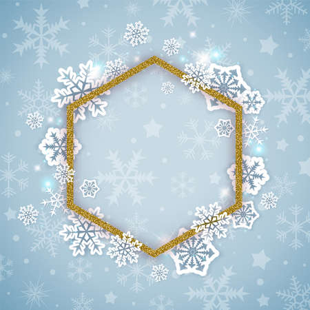 Christmas background with golden glittering frame and white snowflakes. New year greeting card. Vector illustration Ilustração