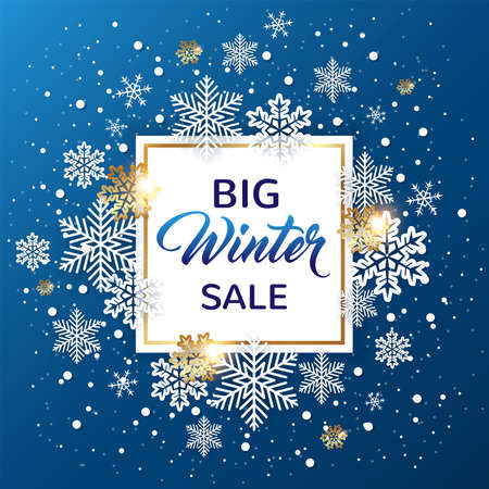 Golden frame with white snowflakes on a blue background. Design for winter seasonal Christmas sale. Vector illustration.