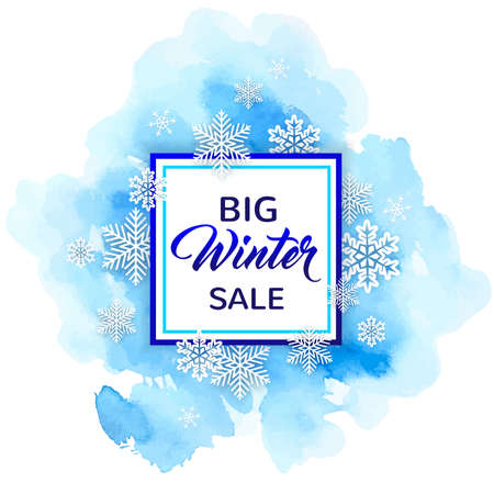 Decorative winter frame with white snowflakes and blue watercolor texture. Design for seasonal Christmas sale