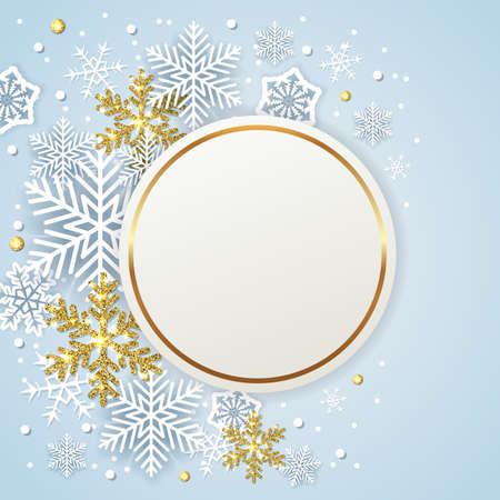 Round banner with white and golden snowflakes on a blue background. Design for new year and Christmas. Vector illustration.