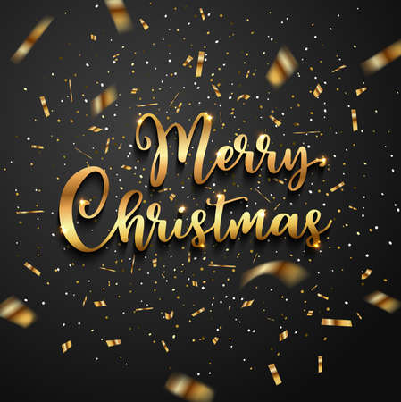 Christmas greeting card with golden glittering confetti and lettering on a black background. Vector illustration. Illustration