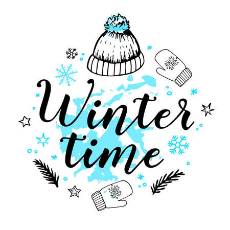 Hand drawn holiday new year background with snowflakes, hat and text. Winter time lettering. Vector illustration. Ilustração
