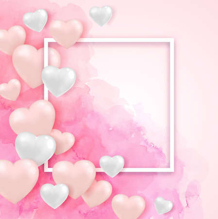 Festive background for Valentines day with heart balloons, white frame and pink watercolor texture. Vector illustration. Valentine greeting card design Ilustração