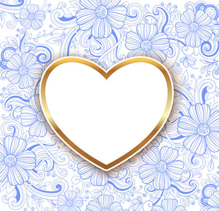 Decorative blue floral background with golden heart. Design for Valentines day. Hand drawn vector illustration.