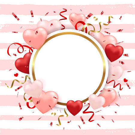 Decorative festive striped background for Valentines day with red heart balloons and confetti. Vector illustration.