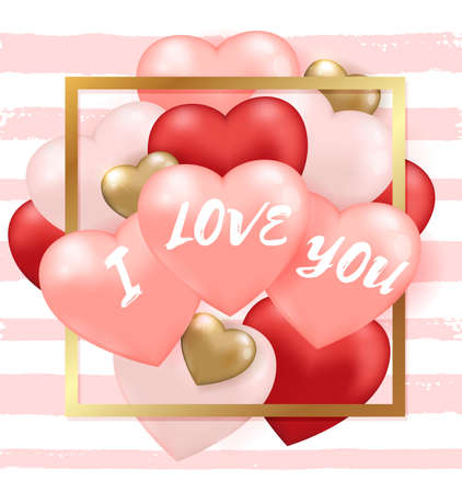 Decorative festive striped background for Valentines day with red and pink heart balloons and golden frame. I love you lettering. Vector illustration.